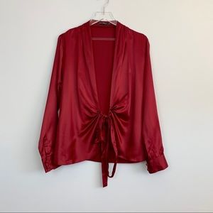The Limited Silk Red Wrap Blouse M4
